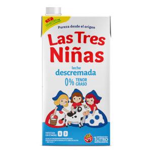 Leche Descremada 0% Tenor Graso Las Tres Niñas 1 Lt x 12U